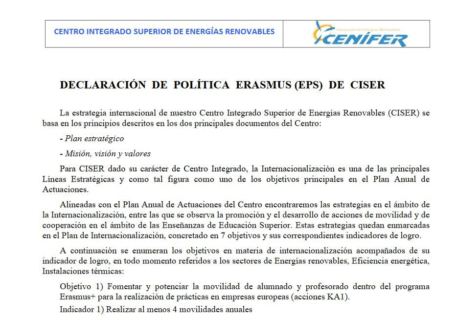 Cenifer Declaracion Política ERASMUS 2020