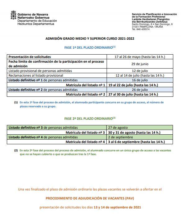 Cenifer-Calendario admision FP 2020-2021